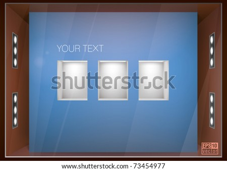 store window with illuminated shelves built into the wall, for interior design, eps10 vector