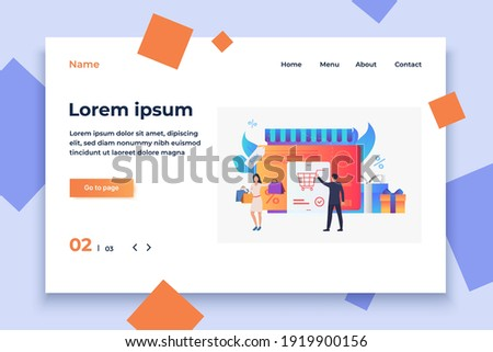 Store with credit card, gift boxes, buyers vector illustration. Purchase, sale, e-commerce. Shopping concept. Creative design for website templates, posters, banners Photo stock ©