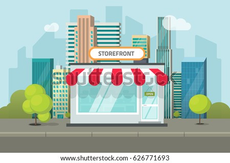 Storefront in city vector illustration, restaurant cafe or store building on town street landscape, flat cartoon style shop facade front view