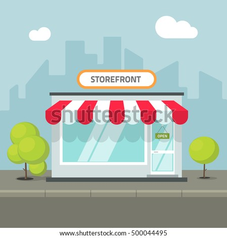 Storefront in the city vector illustration, store of restaurant cafe building on town street, flat cartoon shop facade front view
