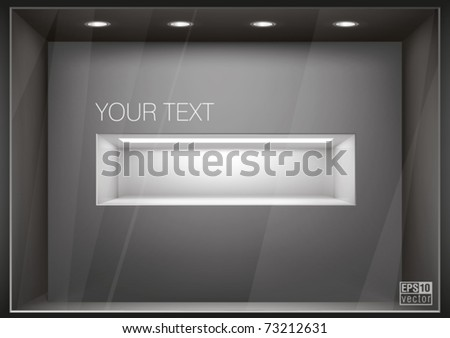 Storefront  with illumination of  shelf in a wall, you can change colors for the background, eps10 vector - stock vector