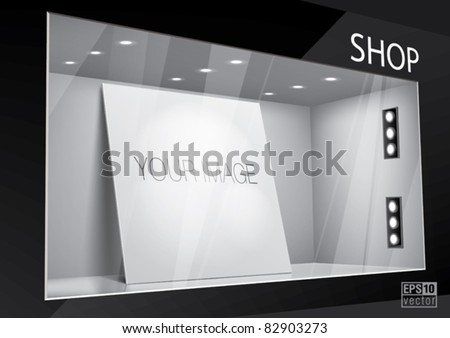 Storefront with poster for your design. Eps10 vector - stock vector