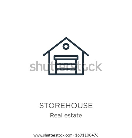 Storehouse icon. Thin linear storehouse outline icon isolated on white background from real estate collection. Line vector sign, symbol for web and mobile
