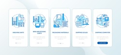 Storehouse management blue onboarding mobile app page screen with concepts. Warehouse order organization walkthrough 5 steps graphic instructions. UI vector template with RGB color illustrations