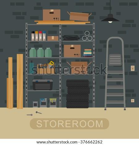 storeroom interior with metal