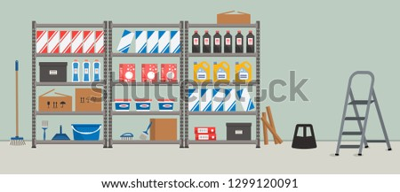 Storeroom. Shelving with household goods. Warehouse racks. There are cardboard boxes, bucket, brushes, bottles, step ladder and other things in the picture. Vector illustration ストックフォト ©