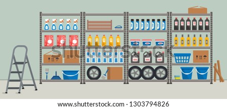 Storeroom. Shelving with household goods. Warehouse racks. There are cardboard boxes, buckets, brushes, bottles, step ladder and other things in the picture. Vector illustration ストックフォト ©