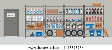 Storeroom. Shelving with household goods. Warehouse racks. There are cardboard boxes, buckets, brushes, bottles and other things in the picture. Vector illustration ストックフォト ©