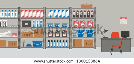 Storeroom. Workplace of the storekeeper. Shelving with household goods. Warehouse racks. There are also a desk, a lamp, a computer, a calendar, chairs and other things in the picture. Vector  ストックフォト ©