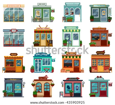 Stores and shops exterior street view collection for buying cars and motorcycles. Bikes and crockery, electronic and plumbing, hunting and fishing, furniture, meat and fish, vegetable and spices