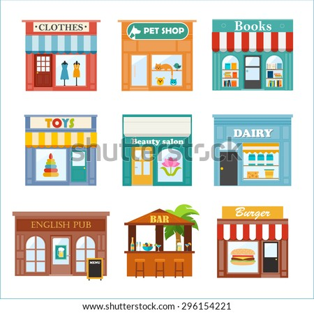 Stores and shops icons set with clothes store, pet shop, books store, toys shop, beauty salon,  dairy shop, English pub, beach bar, burger restaurant, vector illustration