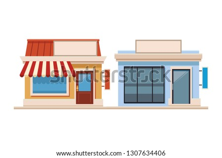 stores shopping front cartoon