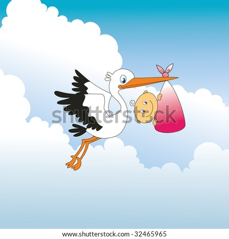 Stork and baby - stock vector
