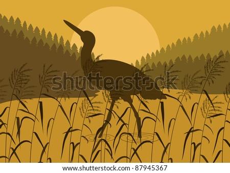 Stork bird wild nature landscape illustration - stock vector