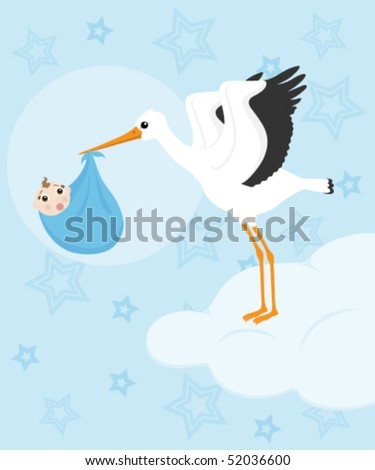 Stork carrying a baby boy