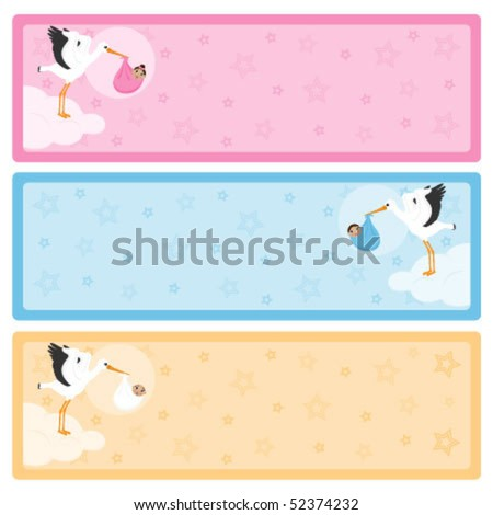 Stork carrying a baby of african descent banners with copy space for your own text.