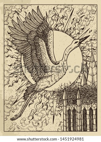 Stork. Mystic concept for Lenormand oracle tarot card. Vector engraved illustration. Fantasy line art drawing and tattoo sketch. Gothic, occult and esoteric background