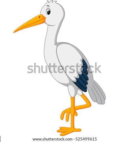 Stock Photo stork with baby cartoon