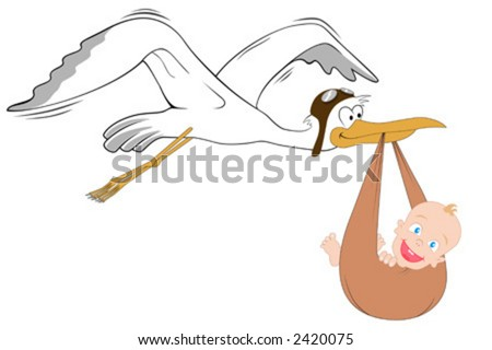 Stork with baby. Detailed vector.