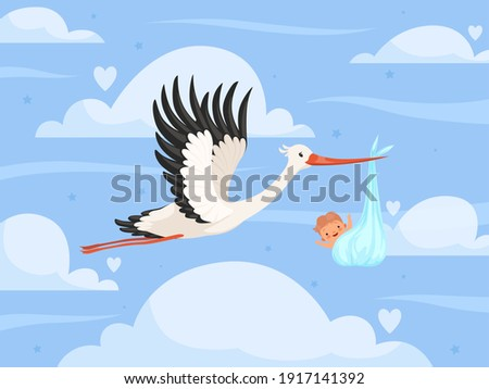 Stork with baby in clouds. New born little kids toddler birth stork delivery nowaday vector background Foto d'archivio ©