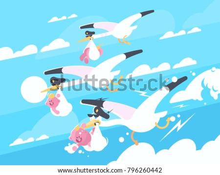 Stock Photo Storks carry babies in beaks. Newborns in flight. Vector illustration