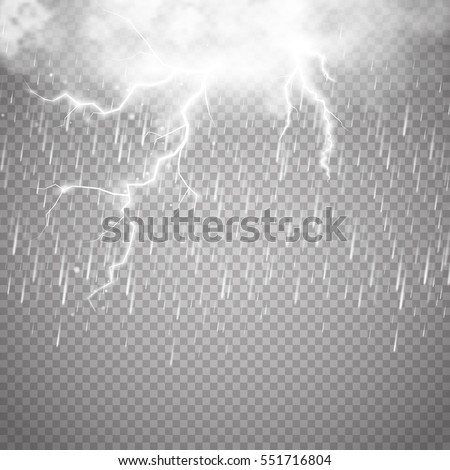 storm and lightning with rain