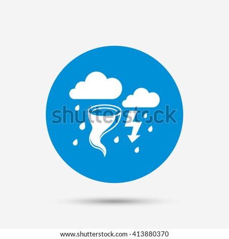 Storm bad weather sign icon. Clouds with thunderstorm. Gale hurricane symbol. Destruction and disaster from wind. Insurance symbol. Blue circle button with icon. Vector
