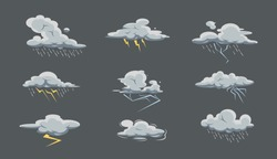 Storm cloud big set with rain and thunderstorm in cartoon style. Bad weather icon collection. Sky with rain