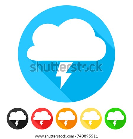 storm cloud icon round flat