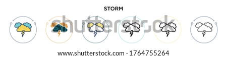 storm icon in filled  thin line