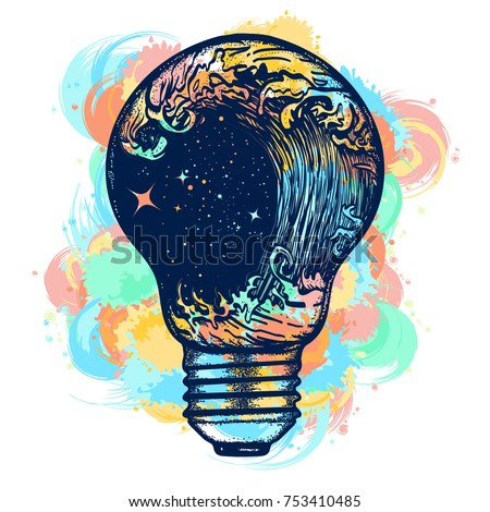 Storm in a light bulb color tattoo. Great outdoors. Tsunami waves tattoo and t-shirt design. Symbol of adventures boho style water color splashes