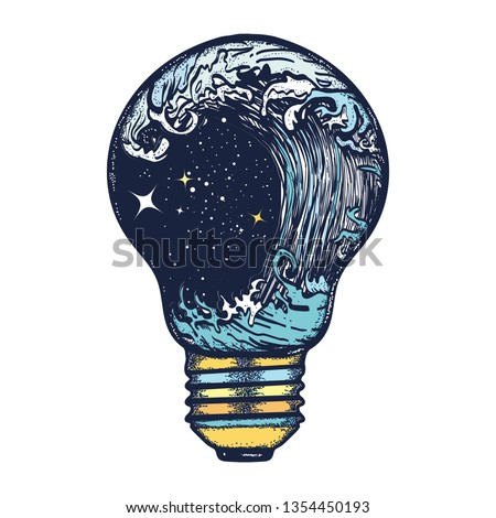 Storm in a light bulb. Great outdoors. Tsunami waves. Symbol of adventures boho style