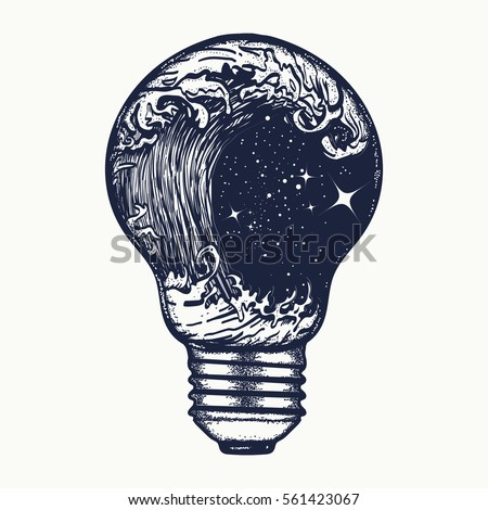 Storm in a light bulb tattoo. Symbol of adventures boho style. Great outdoors. Tsunami waves tattoo and t-shirt design