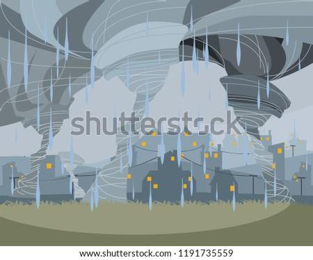 storm in city vector