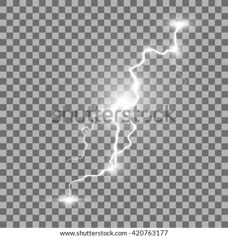 Storm lightning bolt. Isolated on transparent  background. Vector illustration, eps 10.