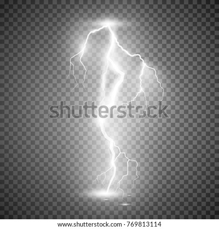 Storm lightning bolt. Vector illustration isolated on transparent background