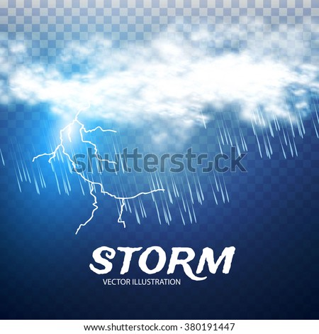 Storm & Lightning. Weather & Forecast Transparent Design. Vector illustration