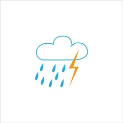 Storm sign. Weather icon. Meteorology symbol thunderstormy. Isolated icon bad weather. Design element. Monochrome symbol of gale. Template for weather forecast, card, etc. Vector illustration