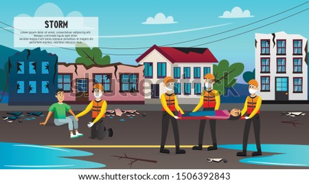 Storm Victims Flat Cartoon Banner Vector Illustration. Rescue Service Evacuating People from Destroyed Buildings. Rescuers in Uniform Carrying Stretchers with Woman. Natural Disaster.