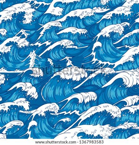 Storm waves seamless pattern. Raging ocean water, sea wave and vintage japanese storms print. Japan style storm drawn, marinene surfing splash wallpaper. Vector illustration background