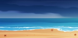 Stormy sky and blue tropical sea landscape vector  background.
