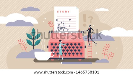 Story vector illustration. Flat tiny literature text author persons concept. Abstract fantasy book writing. Narrative scene development with typewriter. Literature type with creative idea imagination.