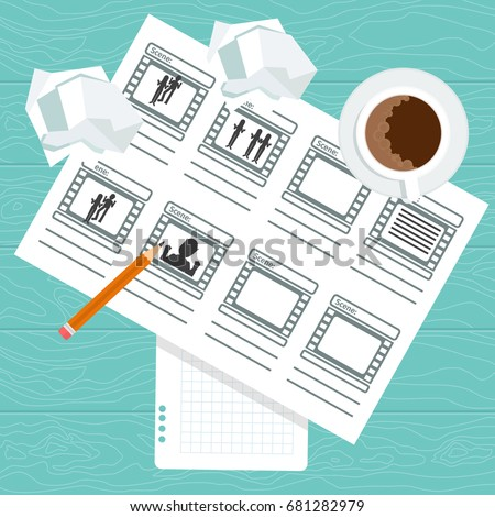 Storyboarding process image. Flat vector cartoon illustration. Objects isolated on a white background.