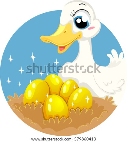 Storybook Illustration Featuring the Classic Fable of The Goose Who Laid Golden Eggs