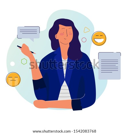 Storyteller woman with pen writing on paper with smiley emoticon. Story content essay journalism. Journalist editor making jokes. Foto d'archivio ©