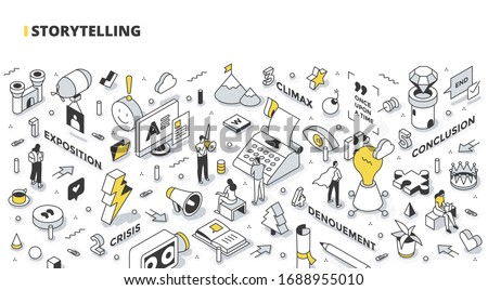 Storytelling concept. Stages of successful story structure: exposition, crisis, climax, denouement, conclusion. Building up customer interest. Communication technology. Outline isometric illustration