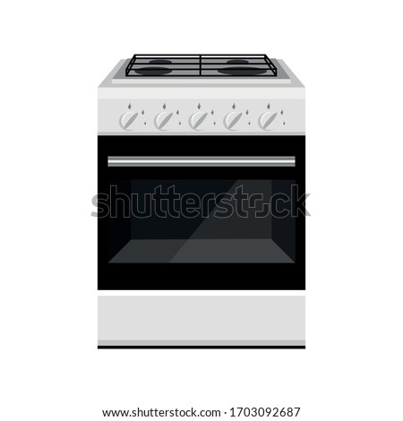 Stove gas oven. Kitchen equipment. Electronic control. Domestic gas oven. Kitchen gas stove. The household equipment. High quality stove.