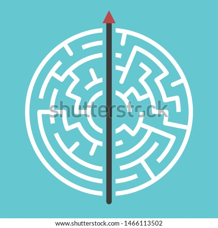 Straight arrow going right through maze on turquoise blue. Simple straightforward solution, creativity, strength, obstinacy, decision and courage concept. Flat design. Eps 8 vector illustration Сток-фото ©