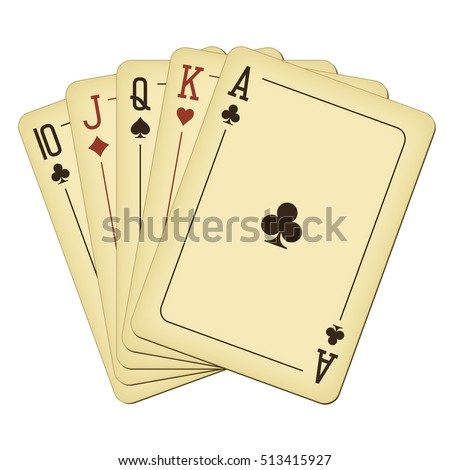 Straight from Ten to Ace - vintage playing cards vector illustration