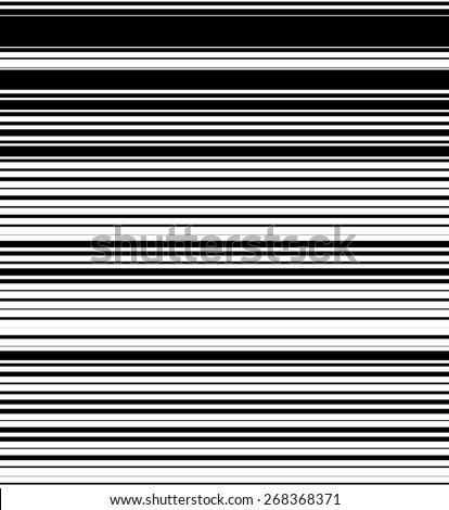 Straight, horizontal lines pattern with random thickness. Black and ...